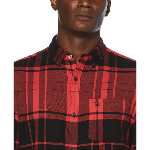 Buffalo Check Flannel Long Sleeve  Shirt In Rococco Red