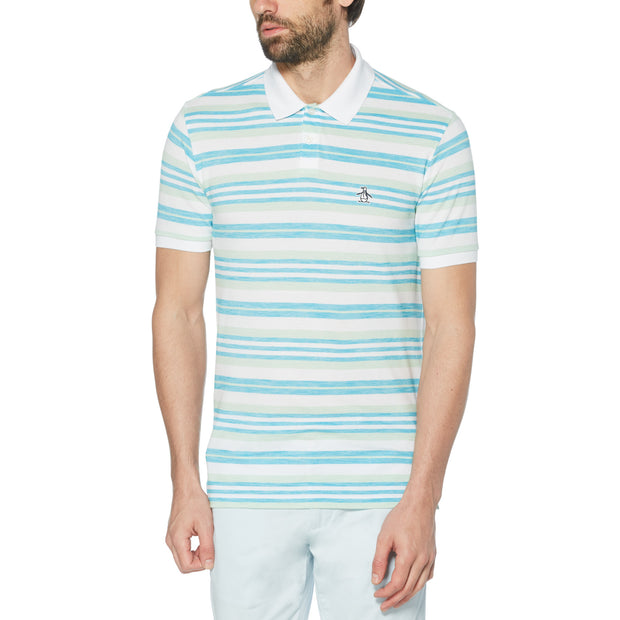 Engineered Stripe Birdseye Polo Shirt In Caribbean Sea