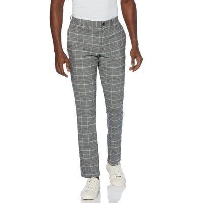 Plaid Slim Fit Trousers In True Black