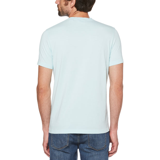TROPICAL LOGO PRINT T-SHIRT IN PASTEL BLUE
