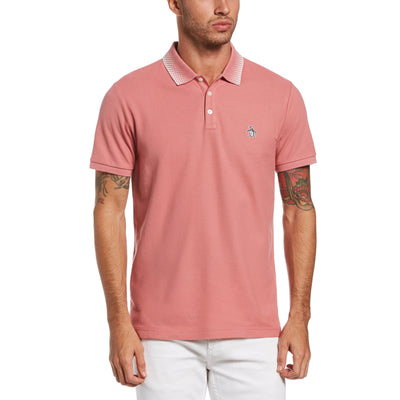 Checkered Collar Polo Shirt In Dusty Rose