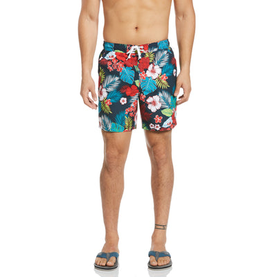 Hawaiian Floral Print Swim Shorts In Dark Sapphire