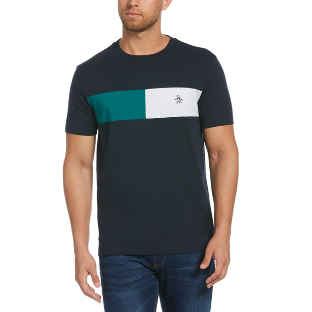 Colour Block Chest Stripe T-Shirt In Dark Sapphire