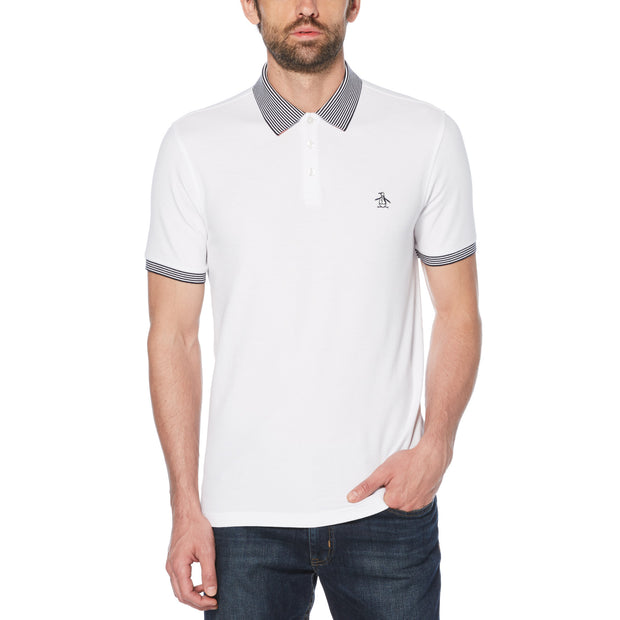 STRIPE COLLAR POLO SHIRT IN BRIGHT WHITE