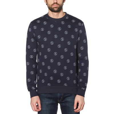 NAVY PENGUIN STAMP PRINT SWEATER IN DARK SAPPHIRE