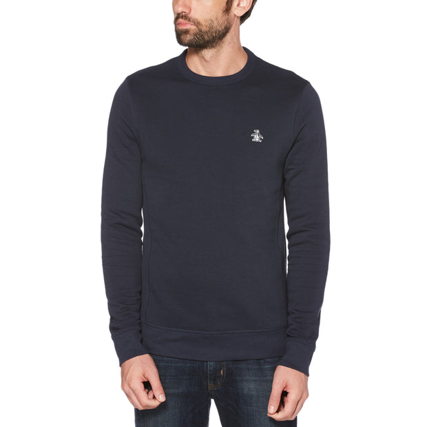 STICKER PETE FLEECE SWEATSHIRT IN DARK SAPPHIRE