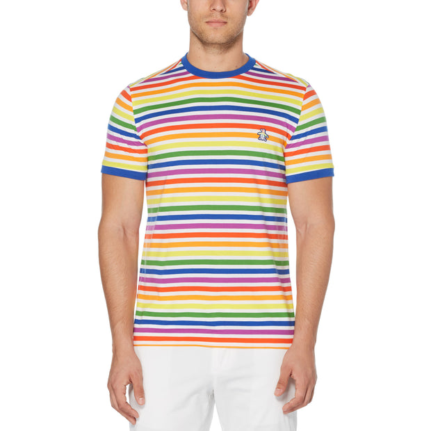 PRIDE STRIPE T-SHIRT IN BRIGHT WHITE