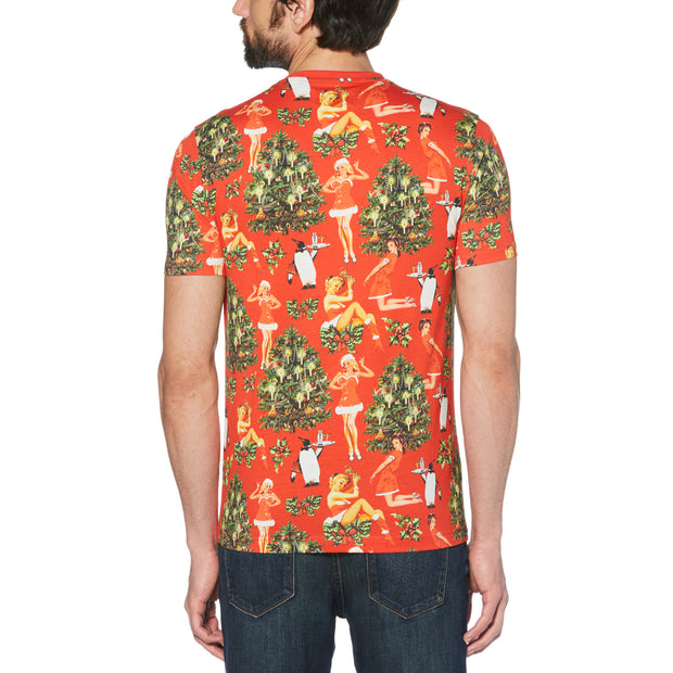 SANTA PRINT T-SHIRT IN ROCOCCO RED