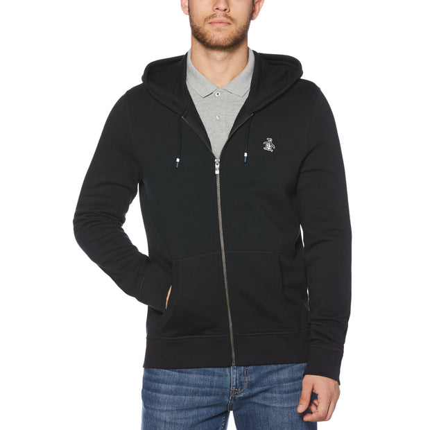 STICKER PETE FLEECE FULL ZIP HOODIE IN TRUE BLACK