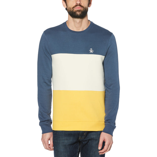 COLOUR BLOCK FLEECE SWEATSHIRT IN SARGASSO SEA