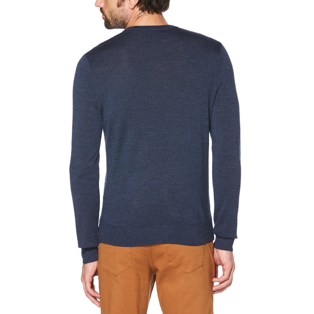 MERINO V-NECK SWEATER IN DARK SAPPHIRE
