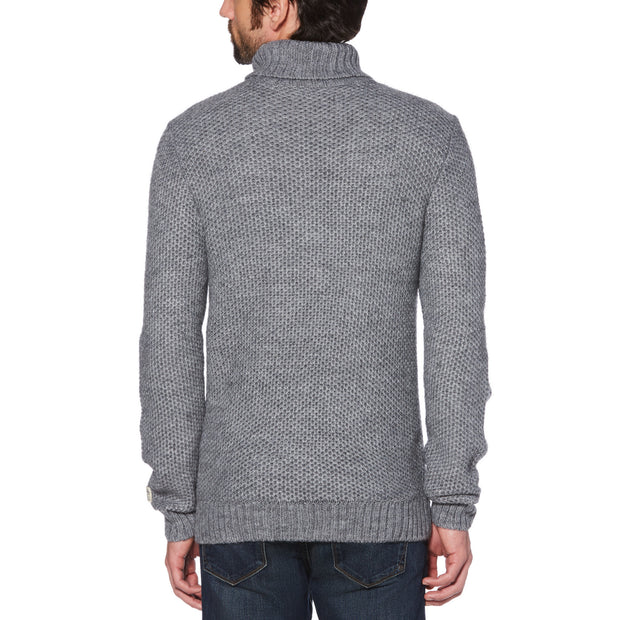 WOOL BLEND TUCK STITCH TURTLENECK SWEATER IN GRIFFIN