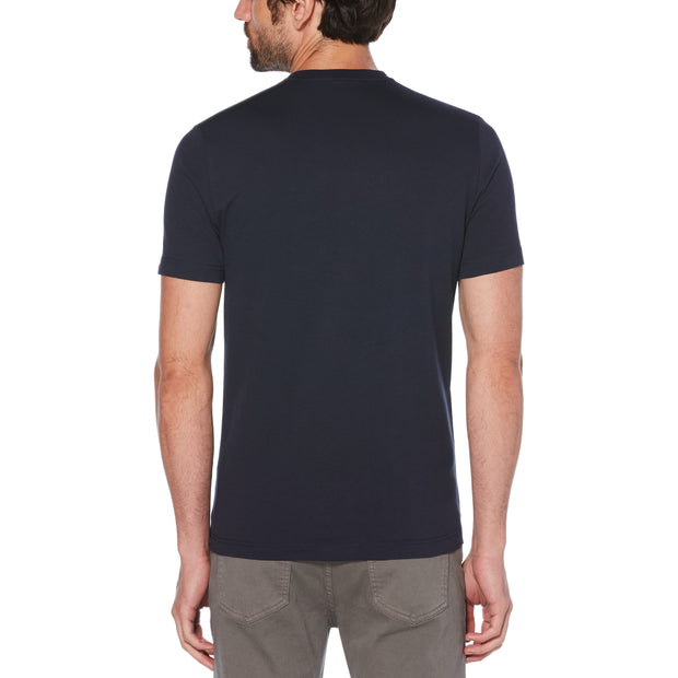 MULTI FLOCK STAMP LOGO T-SHIRT IN DARK SAPPHIRE