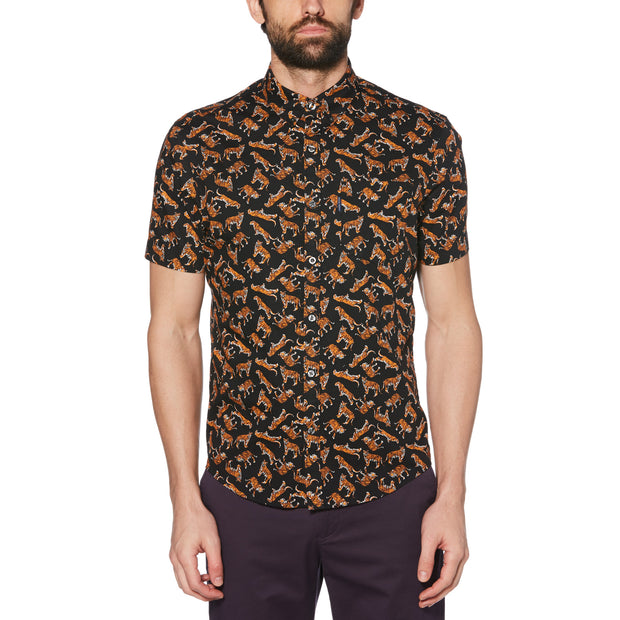 Tiger Print Shirt In True Black