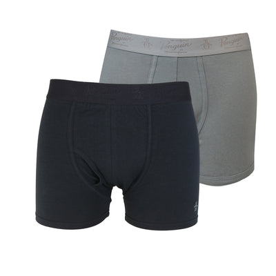 2 Pack Black And Grey Trunks In True Black