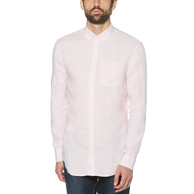 WASHED LINEN SHIRT IN PARFAIT PINK