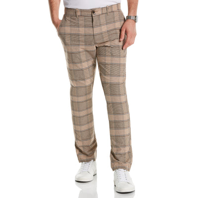 Plaid Slim Fit Trousers In Kelp