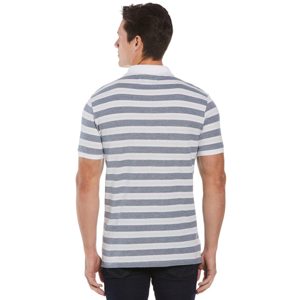 Birdseye Pique Stripe Polo Shirt In Pastel Blue
