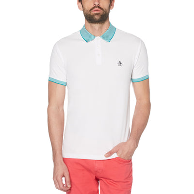 Striped Collar Pique Polo Shirt In Bright White