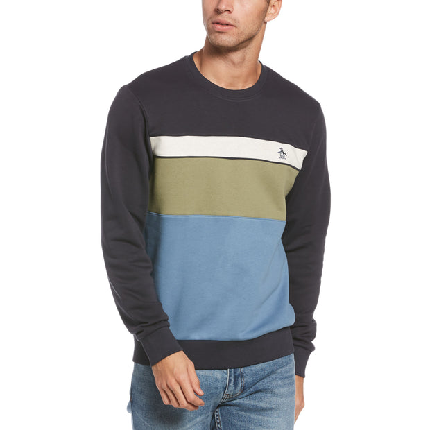 Colour Block Fleece Sweatshirt In Dark Sapphire