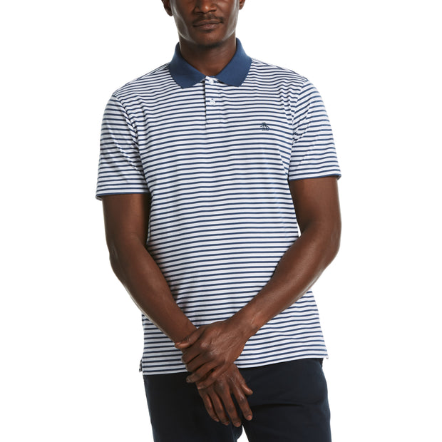Stripe Polo In Sargasso Sea