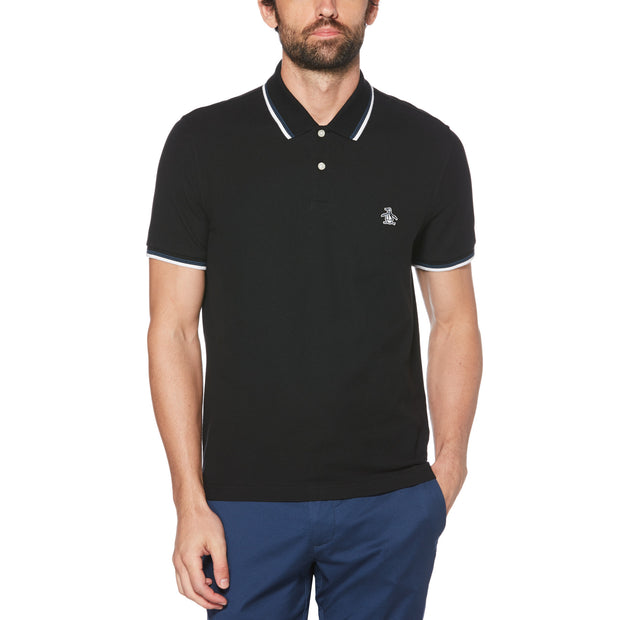 STICKER PETE PIQUE POLO SHIRT IN TRUE BLACK