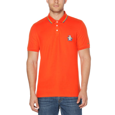 PRIDE TIPPED POLO SHIRT IN CHERRY TOMATO