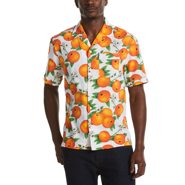 Tossed Oranges Print Button-Down Shirt With Camp Collar In Bright White