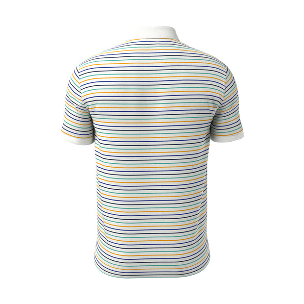 Fine Stripe Pop Polo Shirt In Bright White