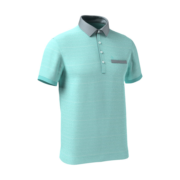Feeder Stripe Chambray Collar Polo Shirt In Aqua Splash