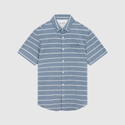 Chambray Horizontal Stripe Shirt In Dark Denim