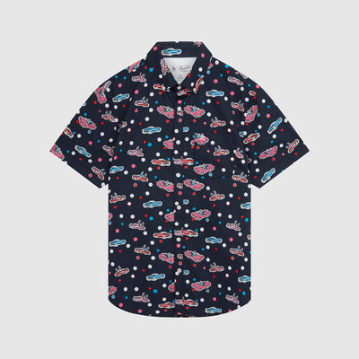Retro Car Print Shirt In Dark Sapphire
