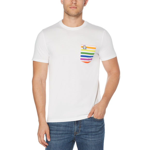 PRIDE RAINBOW STRIPE POCKET T-SHIRT IN BRIGHT WHITE