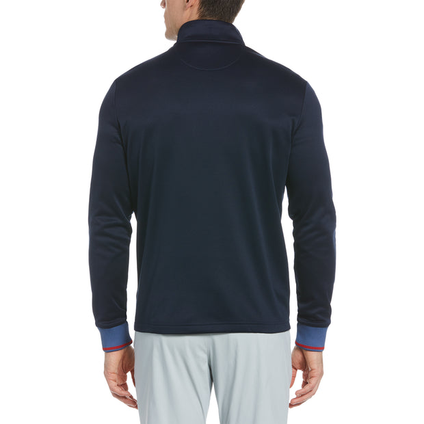 Quarter Zip Mock Neck Golf Pullover In Black Iris