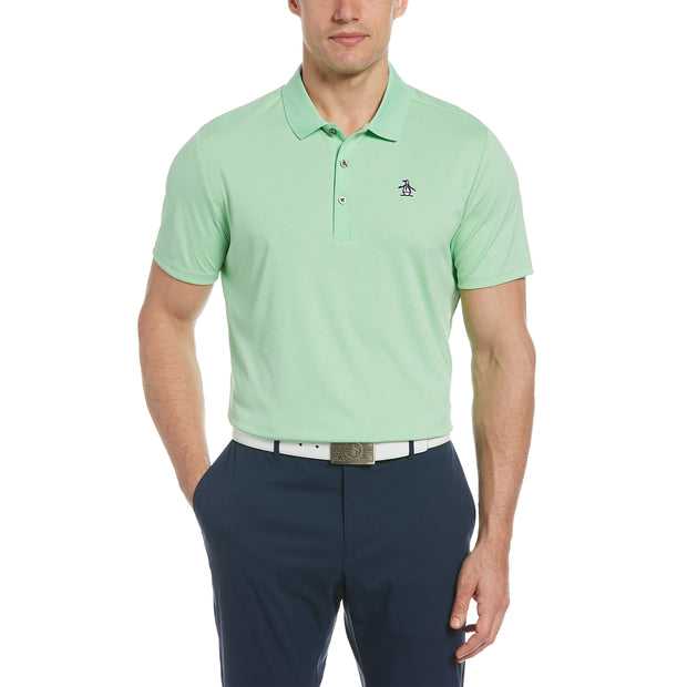 Three Strokes Golf Polo In Summer Green Heather