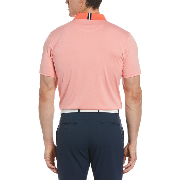 Three Strokes Golf Polo In Orange Coral Heather