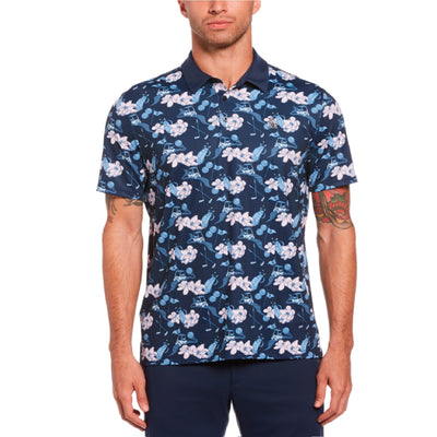 Large Floral Print Golf Polo In Black Iris