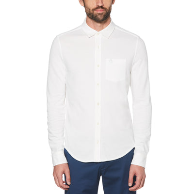 BIRDSEYE PIQUE SHIRT IN BRIGHT WHITE