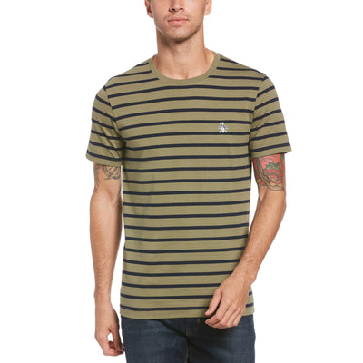 Breton Stripe T-Shirt In Deep Lichen Green