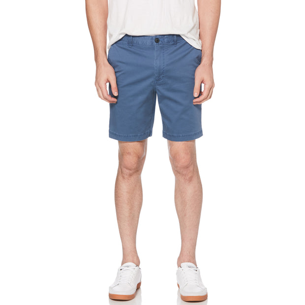 WASHED POPLIN SLIM FIT SHORTS IN DARK DENIM
