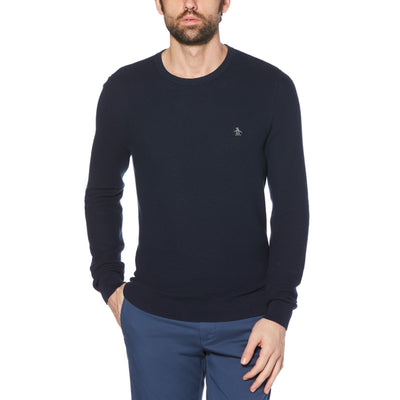 Tuck Stitch Crew Neck Sweater In Dark Sapphire