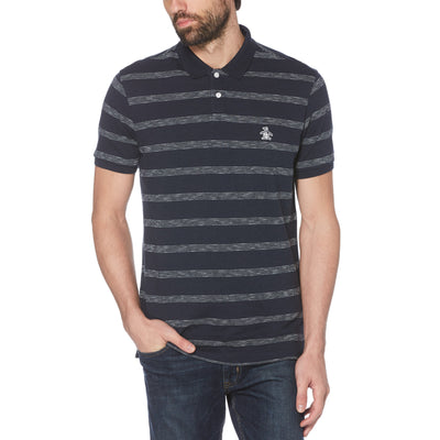 FEEDER STRIPE POLO SHIRT IN DARK SAPPHIRE