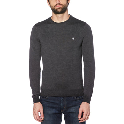 MERINO CREW NECK SWEATER IN DARK CHARCOAL HEATHER