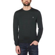 MERINO CREW NECK SWEATER IN DARKEST SPRUCE