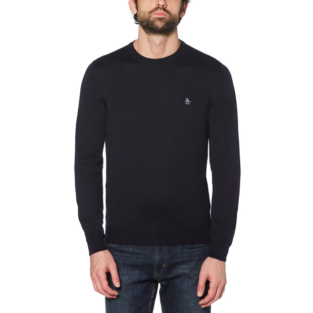 MERINO CREW NECK SWEATER IN DARK SAPPHIRE