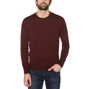 MERINO CREW NECK SWEATER IN TAWNY PORT