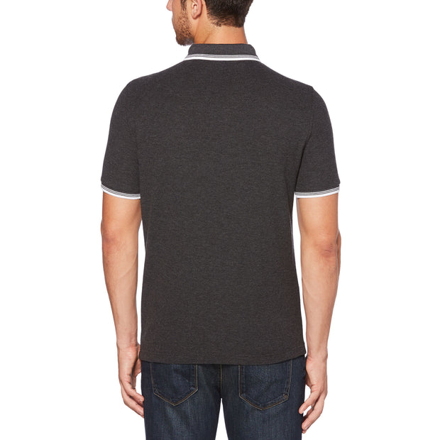 56 TIPPED PIQUE POLO SHIRT IN DARK CHARCOAL HEATHER