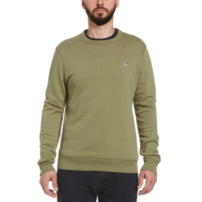 Sticker Pete Fleece Crew Neck Sweatshirt In Deep Lichen Green