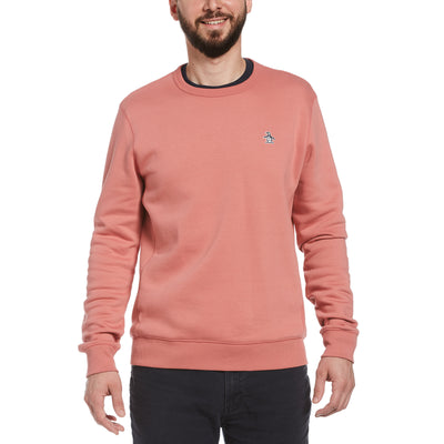 Sticker Pete Fleece Crew Neck Sweatshirt In Dusty Rose