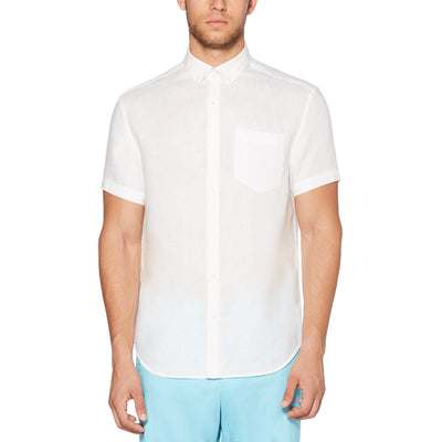 Short Sleeve Linen Shirt In Bright White
